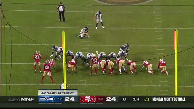 [Highlight] Jason Myers's kick hands the 49ers their first loss in OT!