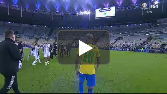 Messi reuniting with Neymar during celebrations
