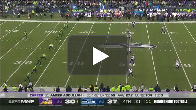 [Highlight] Vikings fumble on the kickoff, Seahawks recover to seal the win.